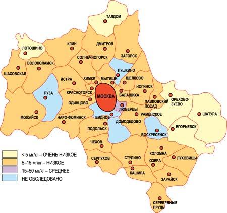 Карта загрязнения и заражения грунта Москвы и Подмосковья медью