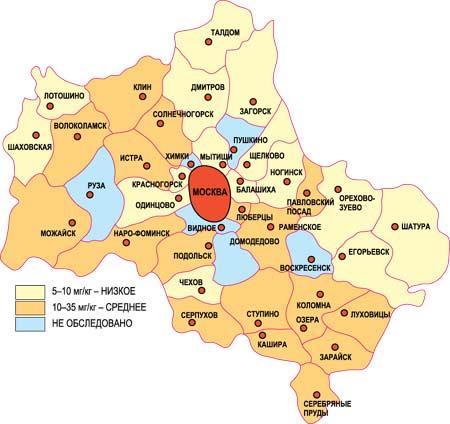 Карта загрязнения и заражения грунта Москвы и Подмосковья свинцом