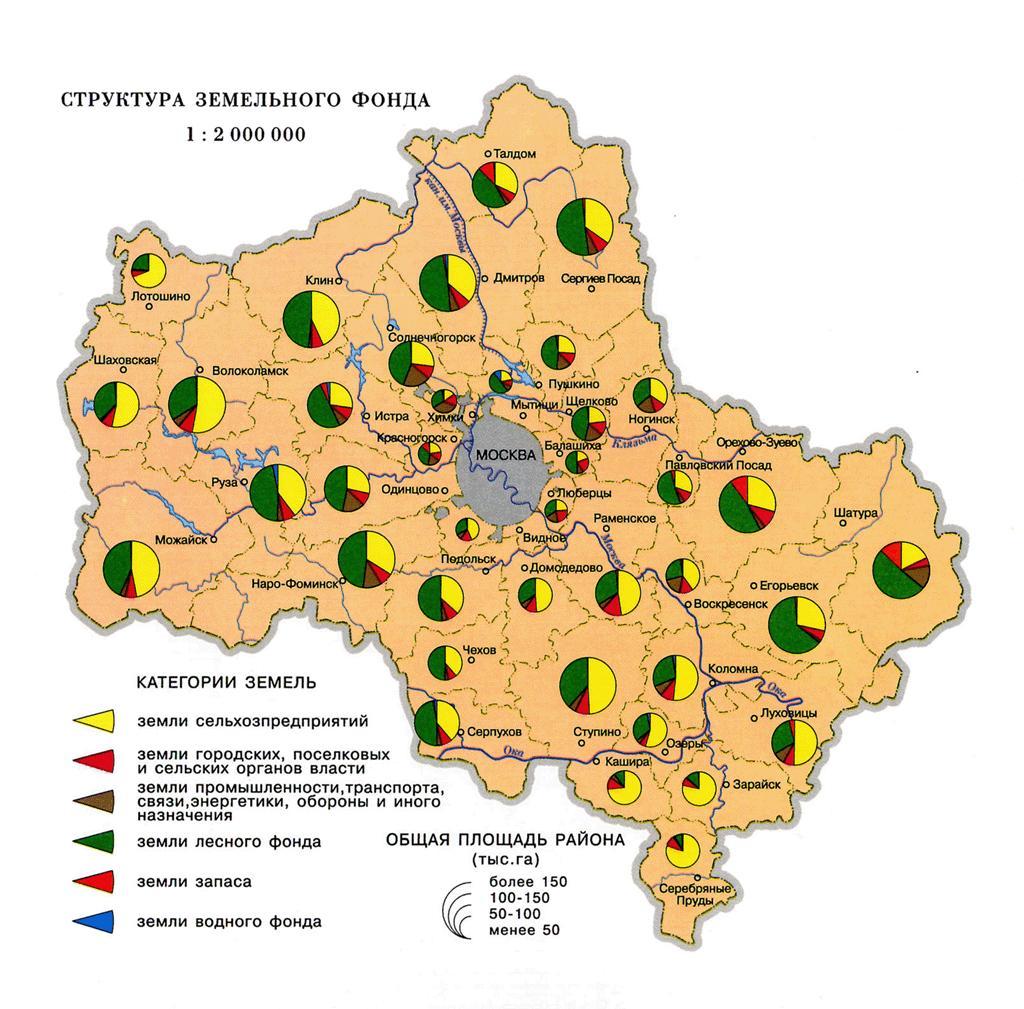 Карта земельного фонда Москвы и Подмосковья